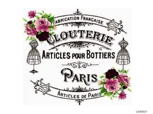 Details About VinTaGe IMaGe FRenCh PaRiS SiGN LaBeL ShaBby WaTerSLiDe  DeCALs FuRNiTuRe FL18