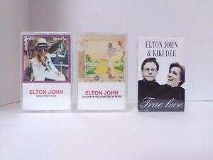 3-Elton-John-Cassette-Tapes-Greatest-Hits-Goodbye-Yellow-Brick-Rhode-amp-True-L