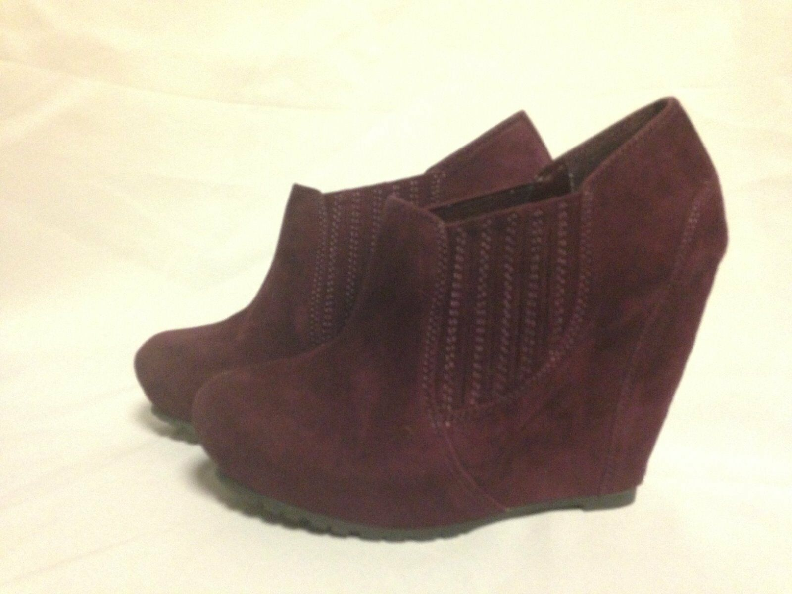 Luxury Rebel Kera Wedge Heel Ankle avvio 37 1 2 M Bordeaux Suede New w  Box