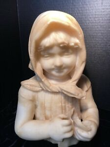 Late 19th Century Carved Alabaster Bust of a Young Girl Wearing a Kerchief