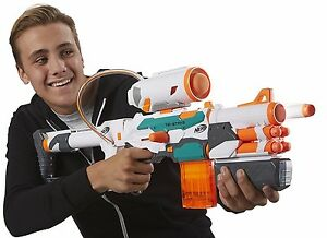 Kid playing with a Nerf gun