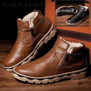 Mens Fur Snow Boots British Style Warm