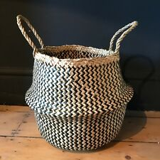 Small Black Natural Seagrass Belly Basket Zig Zag Straw Planter Laundry Basket