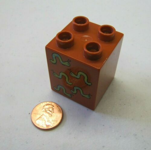 Rare Lego Duplo 5 WORMS PRINTED BLOCK Specialty Counting Brown Piece Part