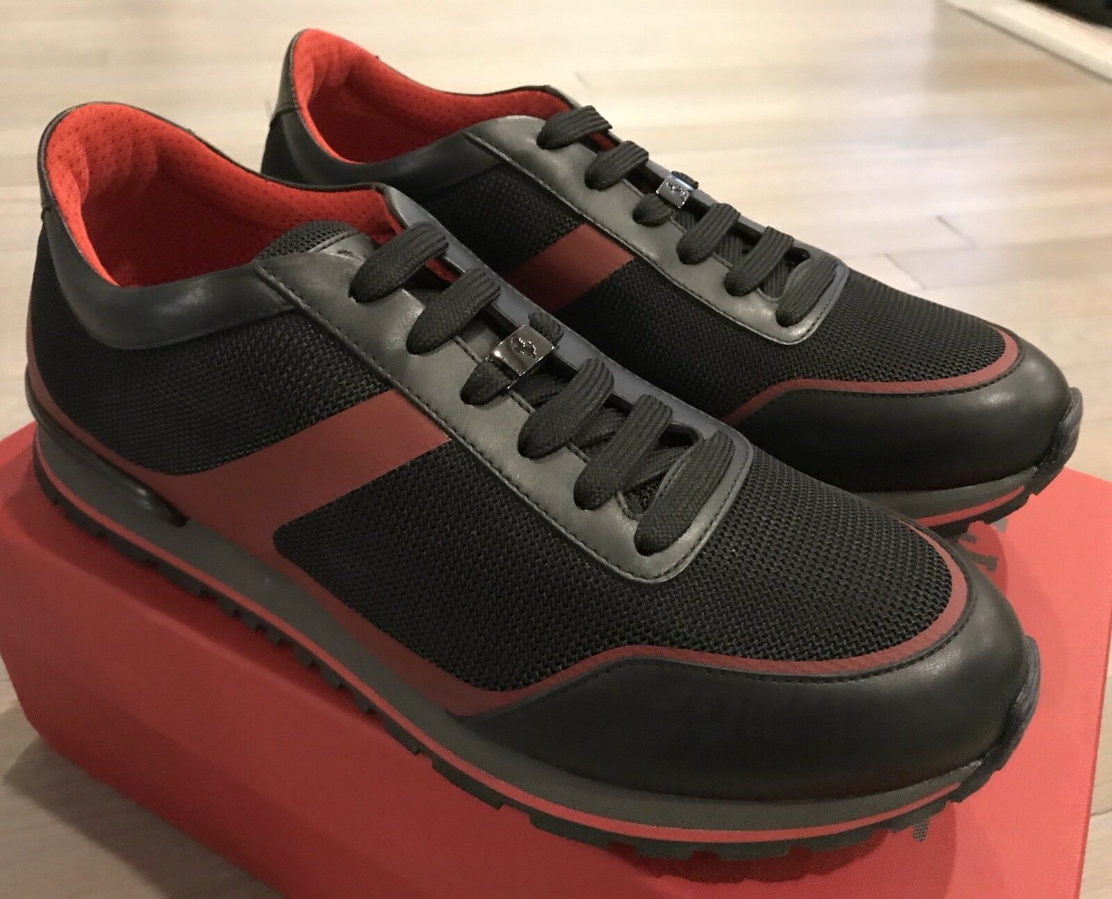 650$ Tod's Ferrari Black Fondo Sport Sneakers Size US 10 Made In Italy