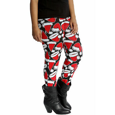 New Ladies Christmas Plus Size Leggings Womens Santa Hat Print Long Ankle Length