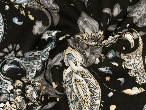 Paisleys schwarz-grau-gelb,140cm Viskose Mousseline