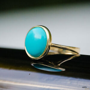 14K-Solid-YELLOW-GOLD-Round-14-mm-TURQUOISE-TURQUOISE-Ring-HANDMADE-JEWELRY