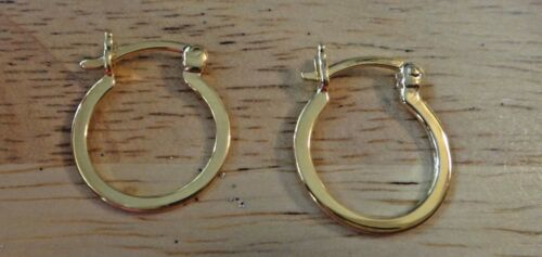 Details about  /Gold Plated Sterling Silver Flat 16 mm Diameter Hoop Earrings