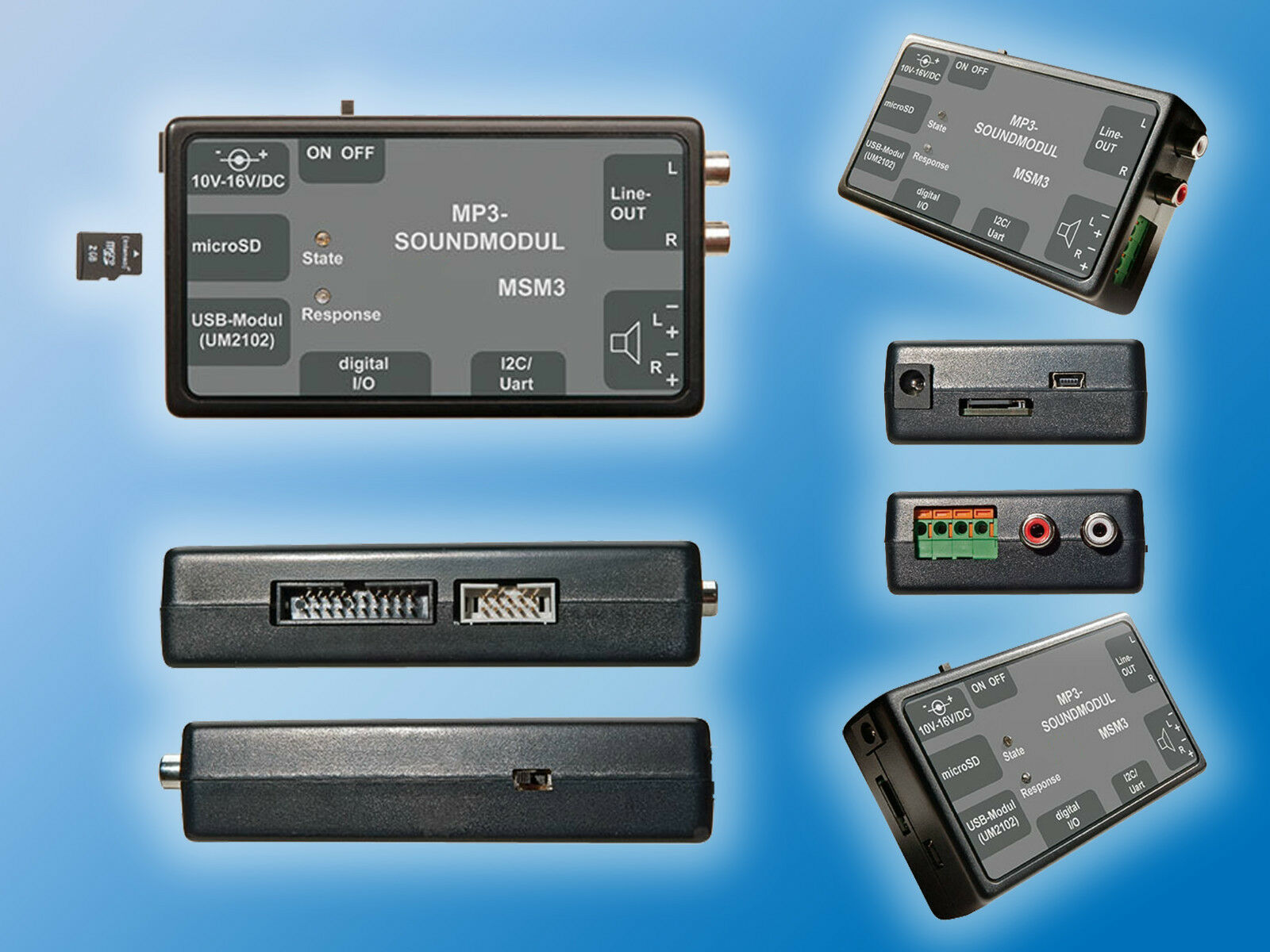 MP3 Soundmodul   MSM3   USB   microSD Karte   Netzteil   Verbinder   Flachkabel