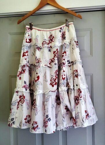 Vintage Lois Crayon Ruffled Graphic Print Skirt -