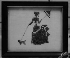 Antique-Linen-Cross-Stitch-SAMPLER-Black-Silhouette-Framed-Embroidery