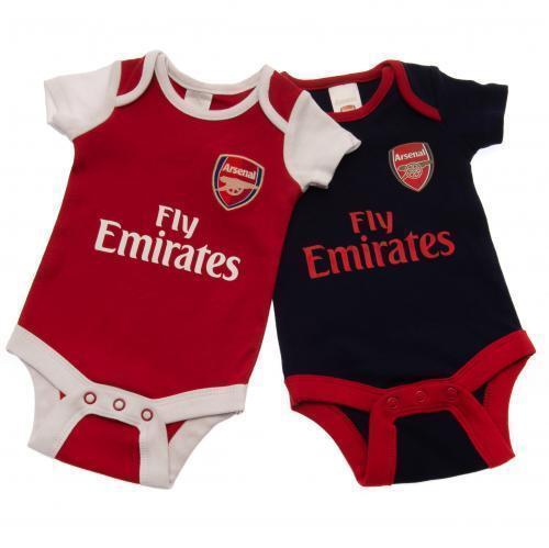 Arsenal Fc 2 Pack Bodysuit Football Home /& Away Kit Baby Vests 18//19 Season