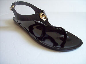 890ac1a16 New MICHAEL KORS Women s Black Hard Jelly Thong Sandals US Sz 8M