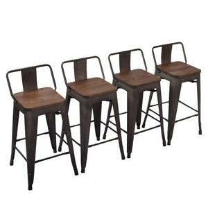 Fantastic Details About Set Of 4 Metal 26 Bar Stool Counter Barstool Seat Low Back Wooden Cushion Rusty Unemploymentrelief Wooden Chair Designs For Living Room Unemploymentrelieforg