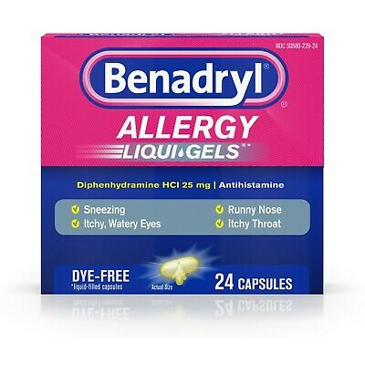 Benadryl Allergy Liqui-Gels Dye-Free 24 Liqui-Gels (Pack of 4)