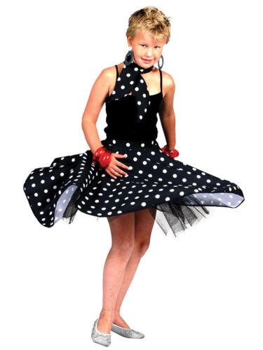Kids Black Rock N Roll Gon na /& Sciarpa Costume dance anni/'50 a pois