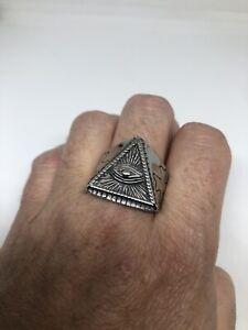 masón Biker Motor Punk Anillo para hombre illuminati Pirámide Ojo