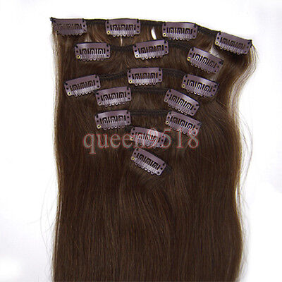 """15""""18""""20""""22""""24""""26""""28""""7PCS Clip In Remy Human Hair Extensions 70g 80g 100g 120g"""