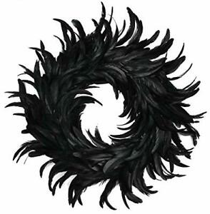 Touch of Nature Cocktail Feather Wreath 15-Inch - Black Cocktail Feathers - F...