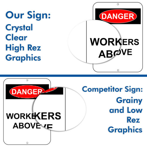 Aluminium Metal UV Reflective Safety Warning Signs Workers Above Danger Sign