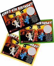 LEGO NINJAGO PERSONLIZED SCRATCH OFF OFFS PARTY GAME CARDS BIRTHDAY FAVORS