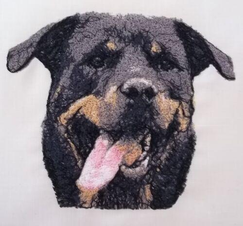 "Panel de bloque Colcha Bordada /""Rottweiler Perro/"" Puro Lino Irlandés"