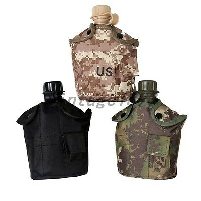 Military Navy Camouflage Sport Camping Water Bottle Pouch Canteen Mug Cup Set