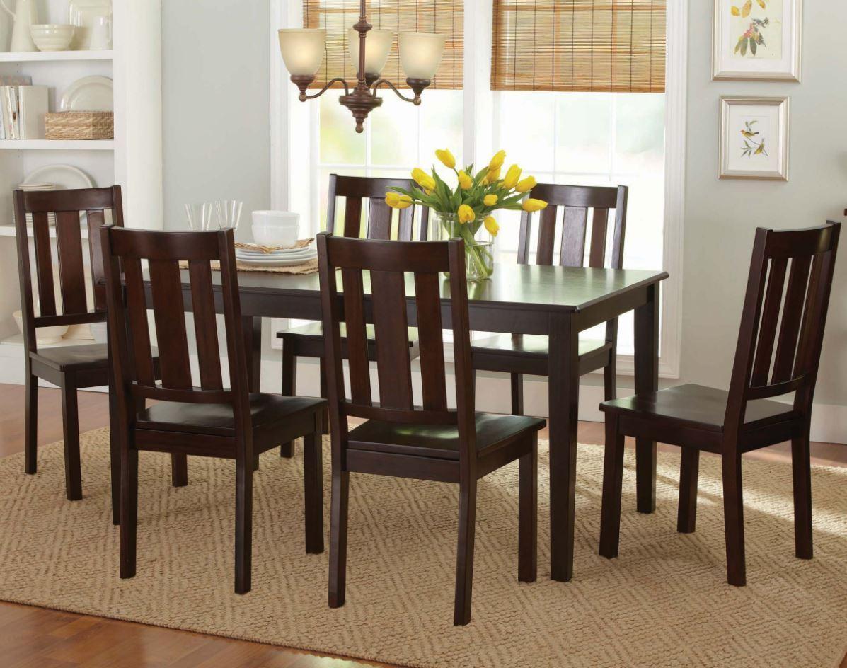 Loksa 7 Piece Brown Cherry Round Dining Set For Sale Online Ebay