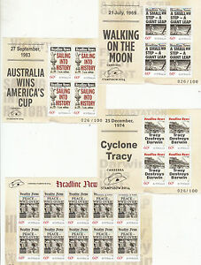 Stamps-Australia-set-4-Headline-News-mini-sheets-with-2014-Canberra-Stamp-Show