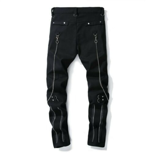 Slim Fit Mens Nightclub Trousers Mid Rise Black Biker Trouser Gothic Rives Pants
