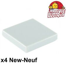 Lego - 4x Tile plaque lisse 2 x 2 with Groove blanc/white 3068b NEUF