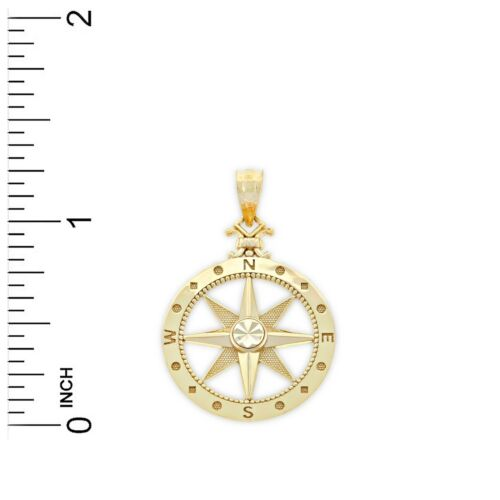 14 Karat or massif Charme de l/'Amérique-GOLD COMPASS Charm
