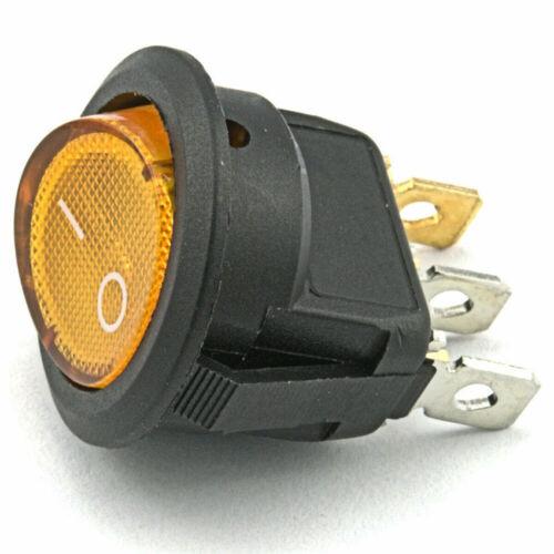 3-Poliger Wippschalter Kipp Netz Schalter 12V 20A Beleuchtet Einbauschalter Neu