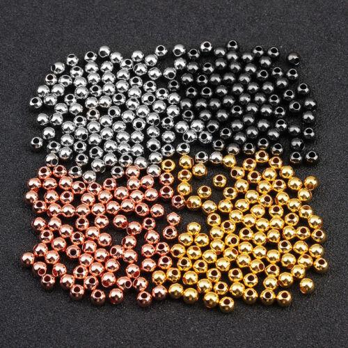50pcs//lot 6 mm Boule Fin Perles de rocaille 18K GP Rond Cuivre Spacer Beads À faire soi-même Findings