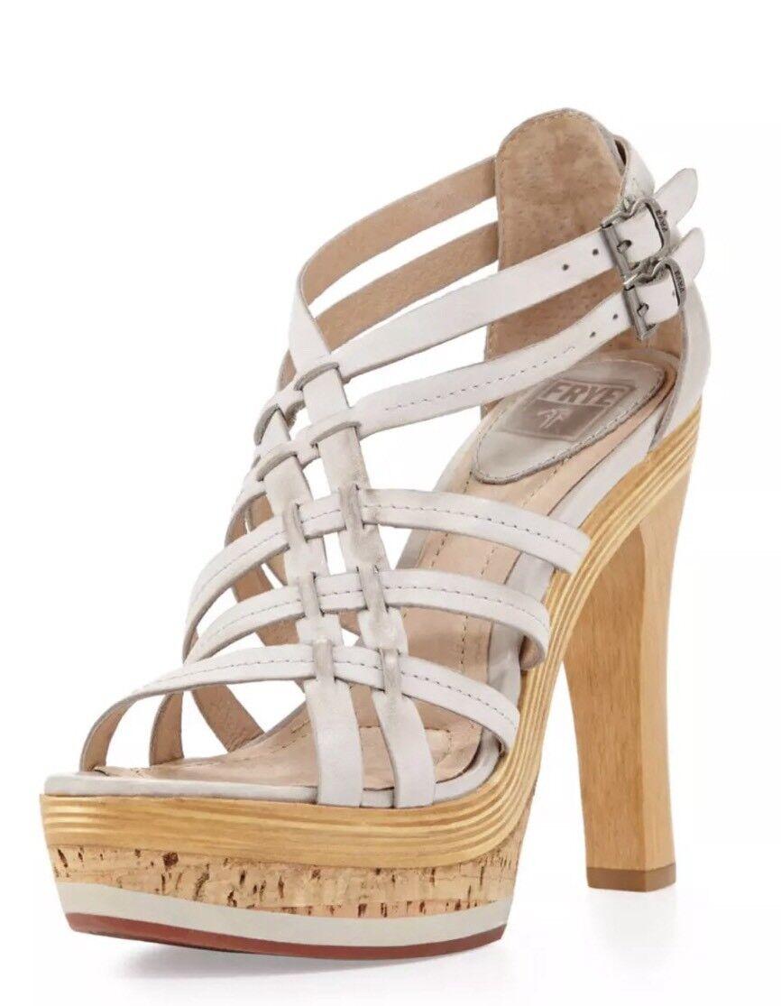 Frye Kara Strappy Mixed-platform Ice White Sandals 6.5