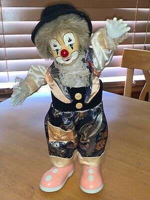 10inch Cute Porcelain Standing Clown Doll Jesters Figure for Birthday Gift