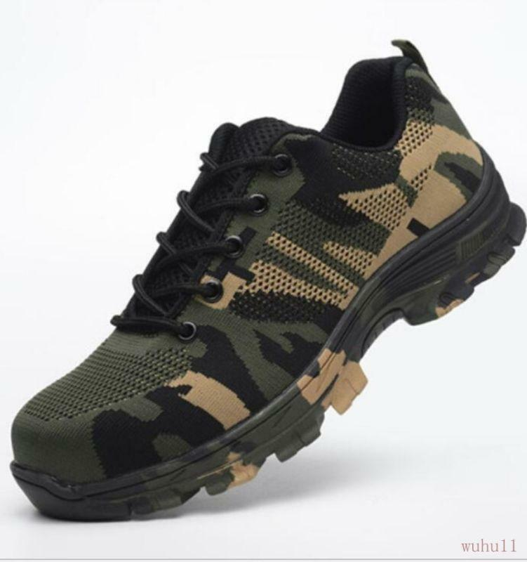 Men's Steel Toe Safety Work shoes Lace Up Breathable Camo Hiking Climb Boots