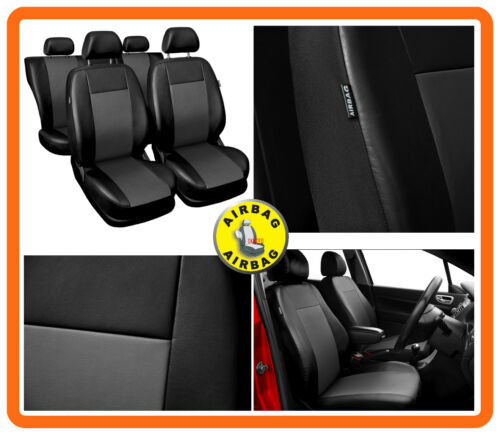 CAR SEAT COVERS full set fit Toyota RAV4 Eco-leather Black//Grey