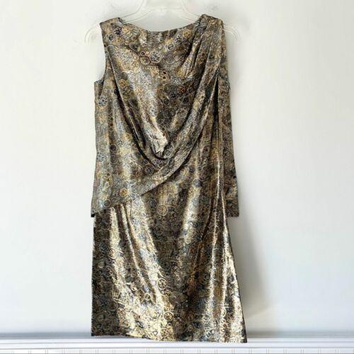 Vintage Gold Silver Lame Shift Dress