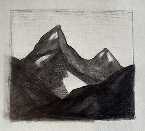 Grand Teton Mountains Western National Park Landscape Tonalist Drawing Graphite