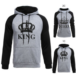 Couple-Femme-Homme-Pull-Pullover-Chandail-Capuchon-Imprime-KING-QUEEN-Decontract