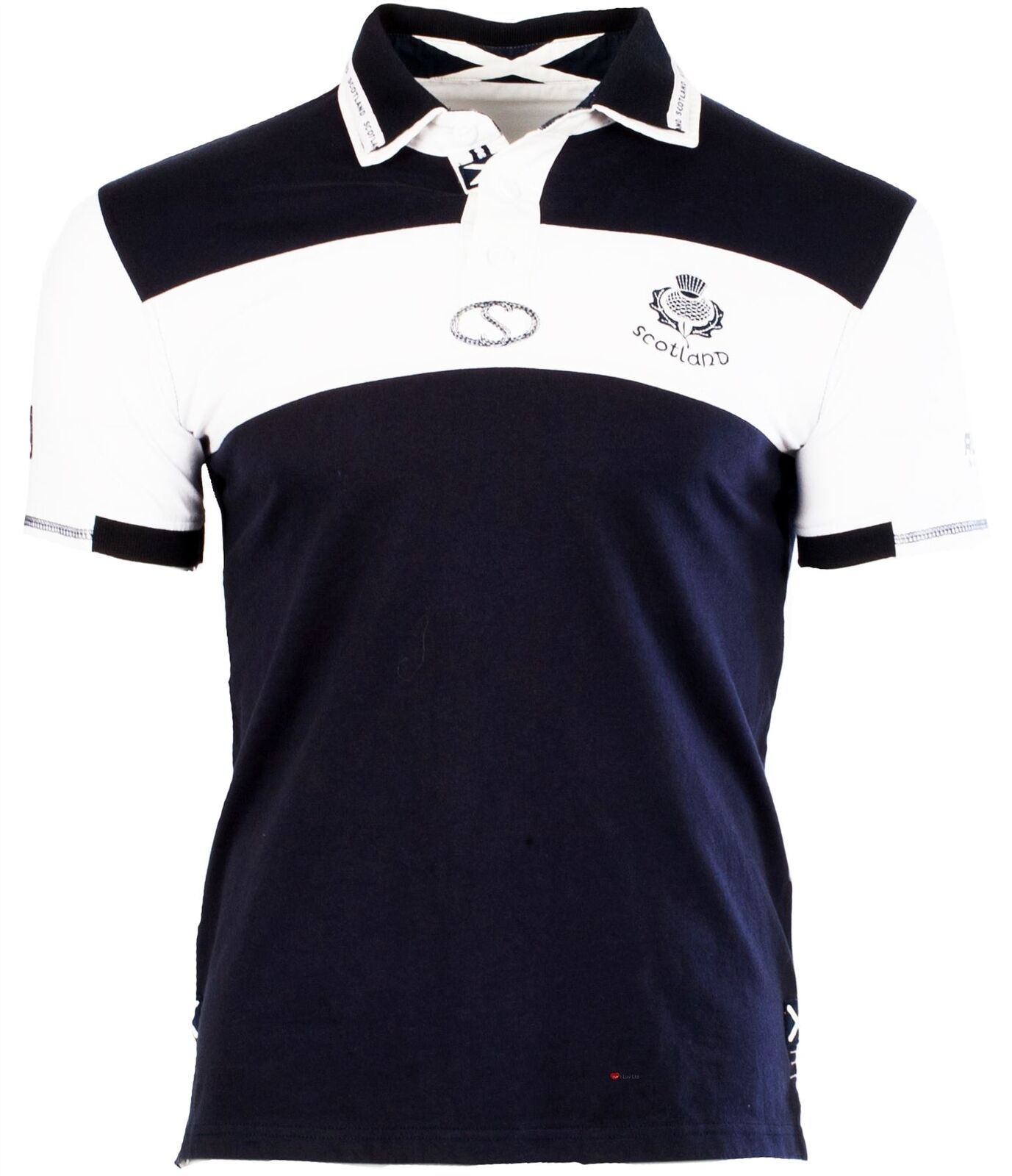 Gents Gents Gents Rugby Shirt Thistle Logo Navy Blau Weiß Scotland Top Mens Adult Small 07cc34