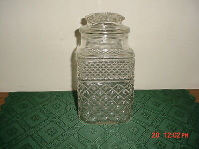 "2-PC ANCHOR HOCKING ""WEXFORD"" 9"" GLASS CANISTERS WITH LID/SEAL/CLEARANCE!"
