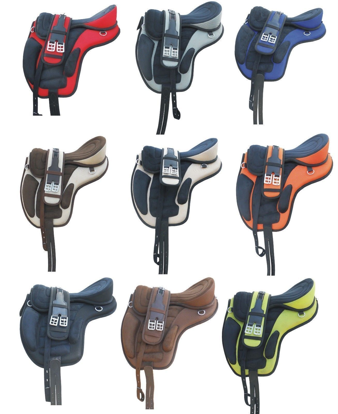 All Purpose Synthetic freemax saddle in 9 colours and 6 sizes with accessories