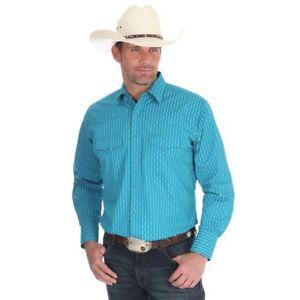 Wrangler-Men-039-s-Turquoise-Pearl-Snap-Long-Sleeve-Western-Shirt-75776TQ-NWT
