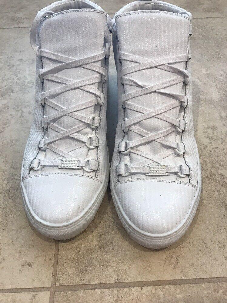 BALENCIAGA Carbon Effect Arena High-Top Sneakers, White, 41 US, 795