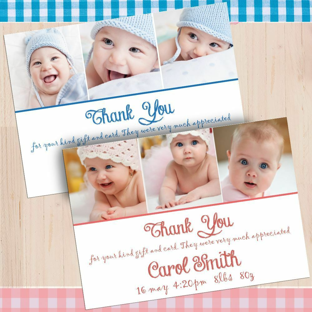 Personalised PHOTO Thank You Cards Announcement Christening. Baby Girl Boy