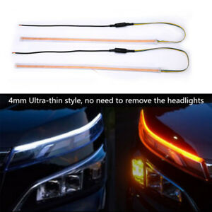 Car-LED-Headlight-Light-Bar-Eyebrow-DRL-Turn-Signal-Flowing-Lamp-White-Amber-2pc
