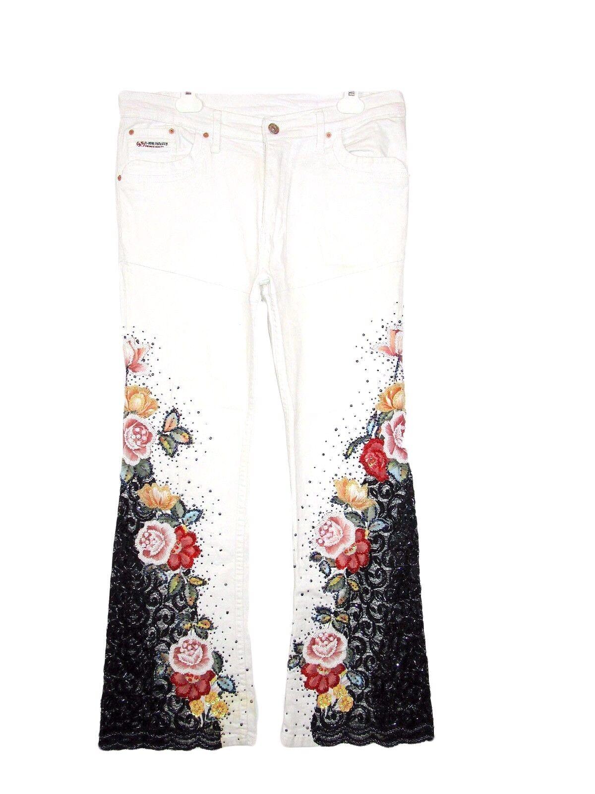 Designer Womens White Casual Cotton Beads Embroider Embellish Trousers sz L AZ10